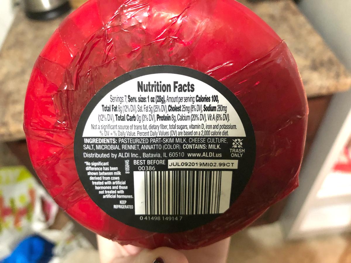 ALDI's Edam Cheese Nutrition