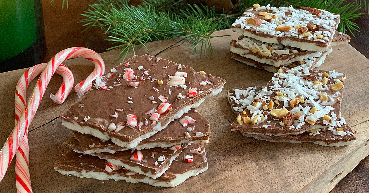 Keto Chocolate Bark served 3 Ways – Almond Joy, Orange & Peppermint