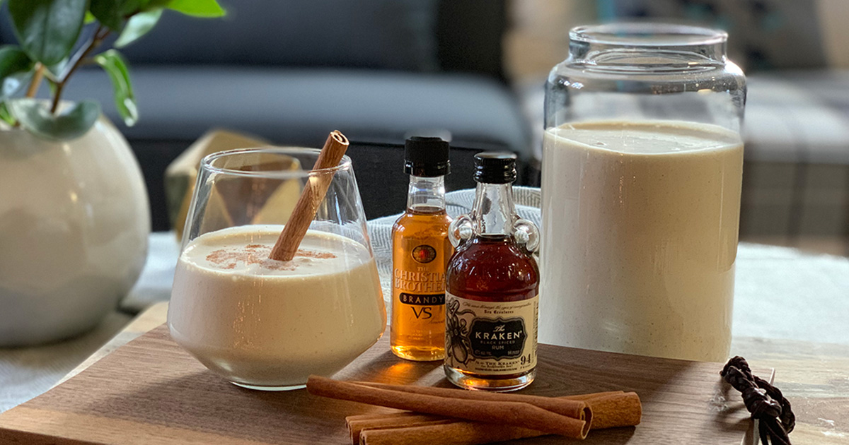 easy low-carb keto eggnog - Dressed up with garnish and next to add-in options