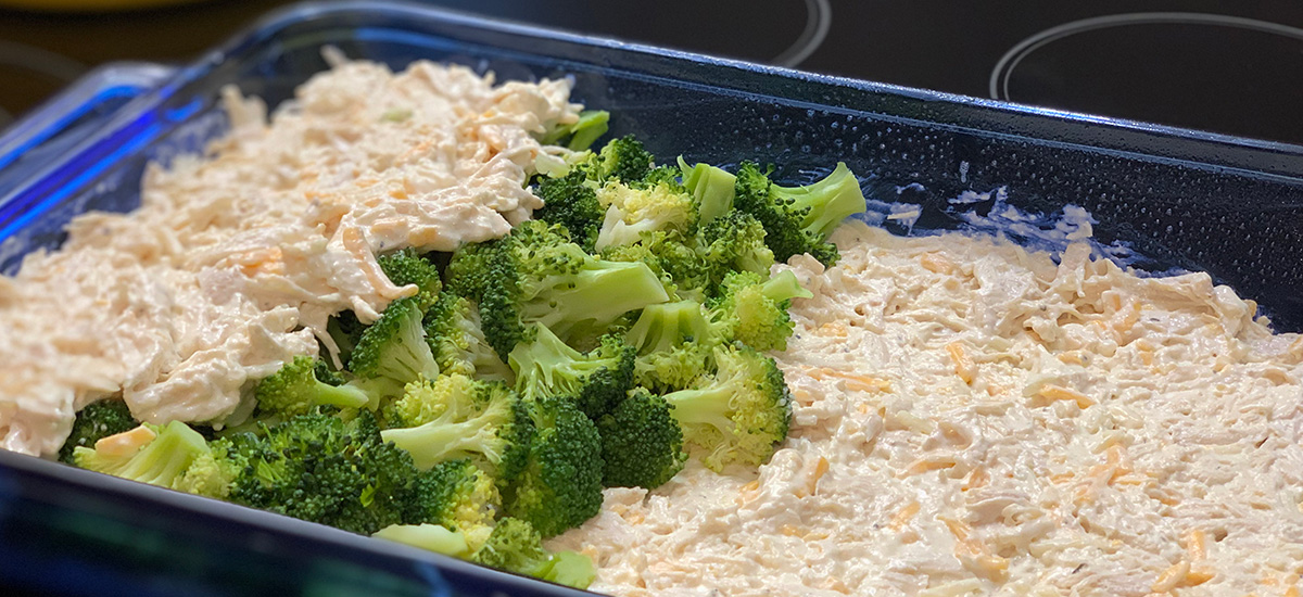 keto chicken broccoli cheese casserole – in the baking dish, ready to cook