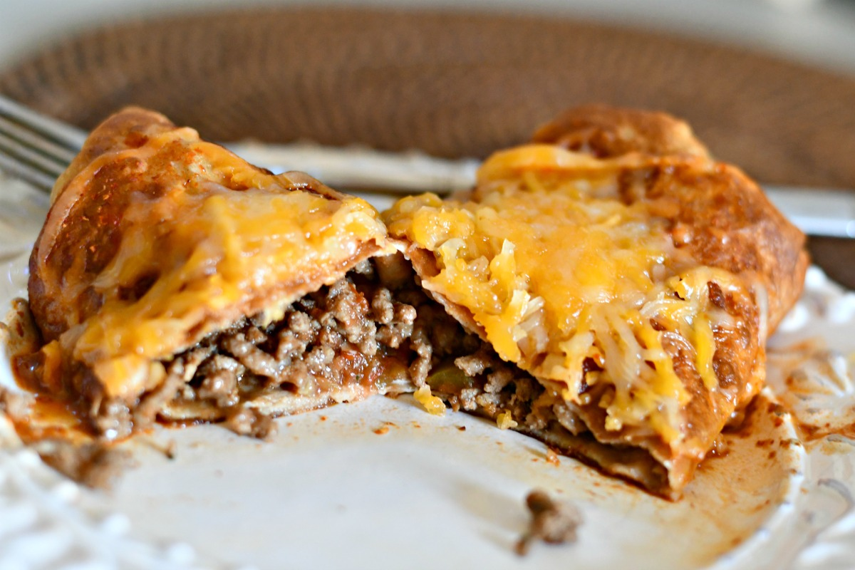 keto chimichangas mexican food – Cut in half to show the inside of the chimichanga
