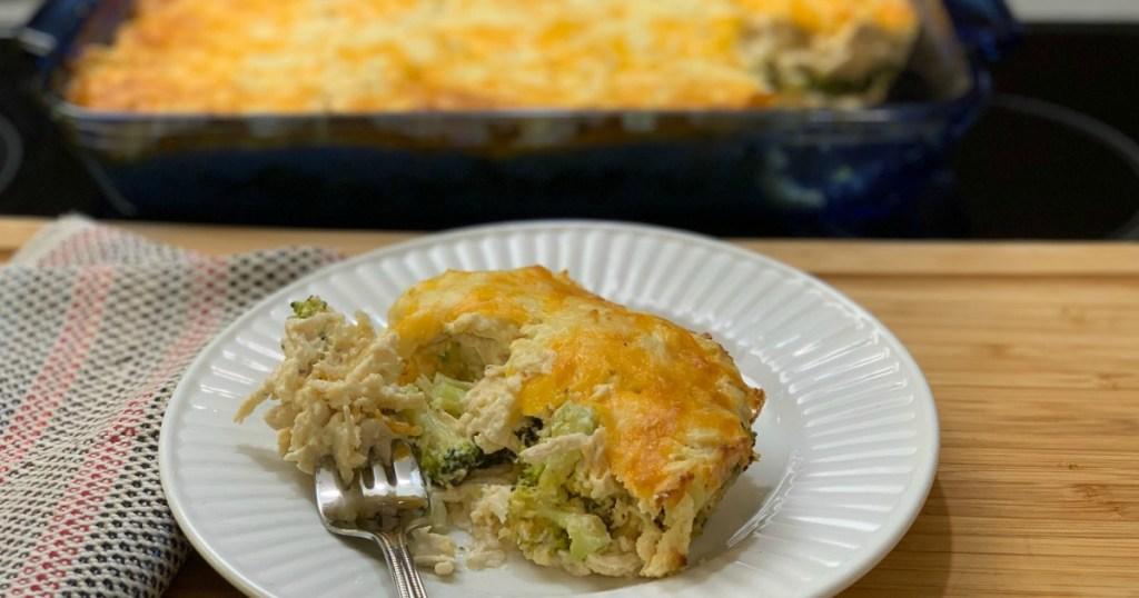 keto chicken casserole on white dish with fork