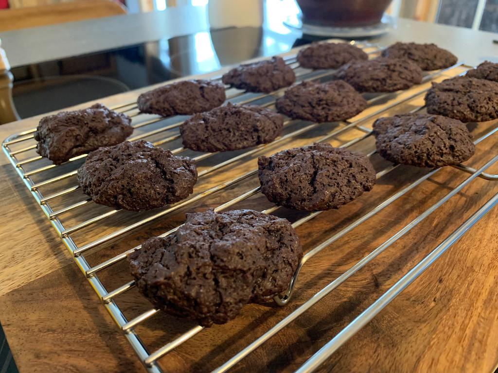 keto brownie cookies on cooling rack