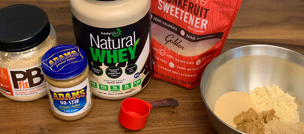 keto skippy p.b. bites recipe – ingredients assembled on a counter