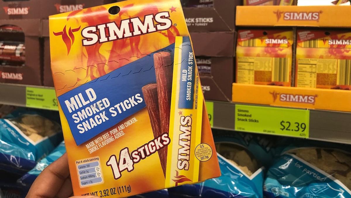 best budget-friendly keto snack foods at ALDI – box of simms meat sticks