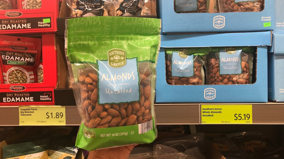 best budget-friendly keto snack foods at ALDI – bag of plain whole almonds