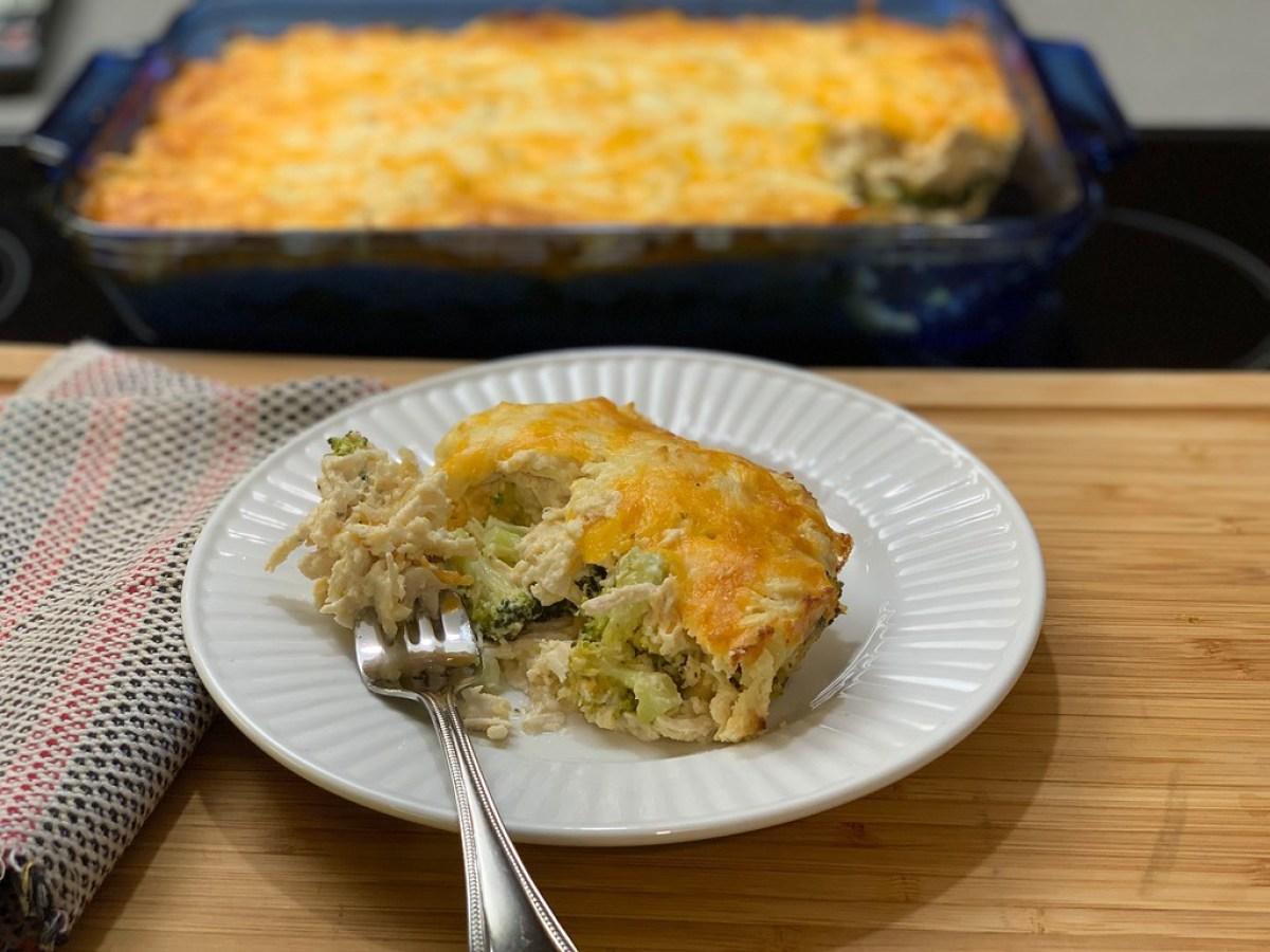 Chicken & Broccoli casserole on a plate