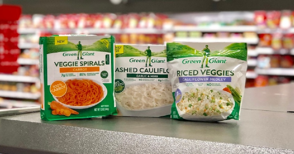 three boxes of frozen Green Giant veggie products displayed at Target