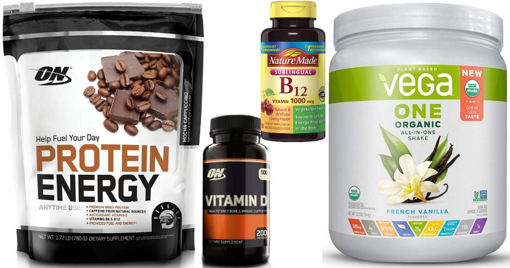 Health products on Amazon like protein powders and vitamins