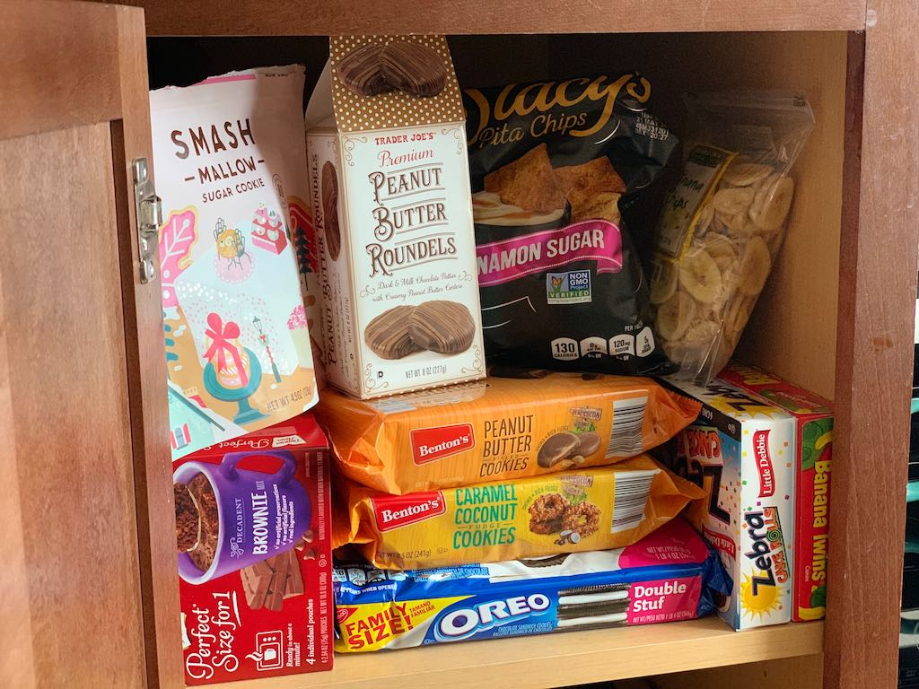 pantry filled with sugar snacks