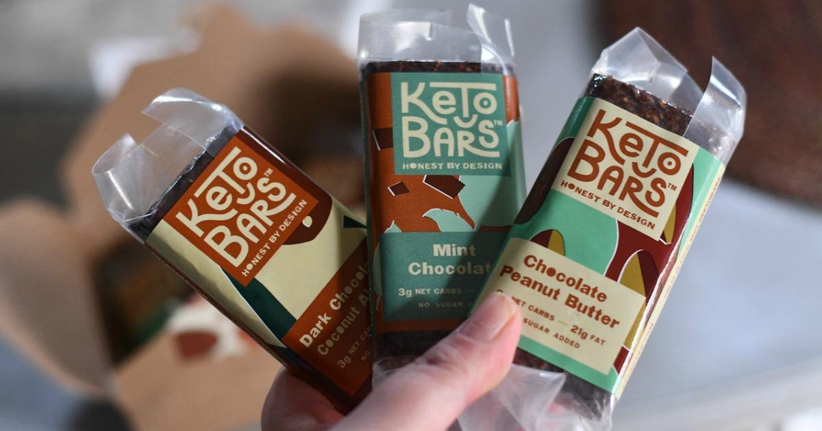 chocolate keto bars in three flavors