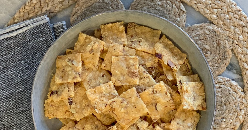 Crunchy Low-Carb Parmesan Nut Crackers - large bowl of crackers ready to serve