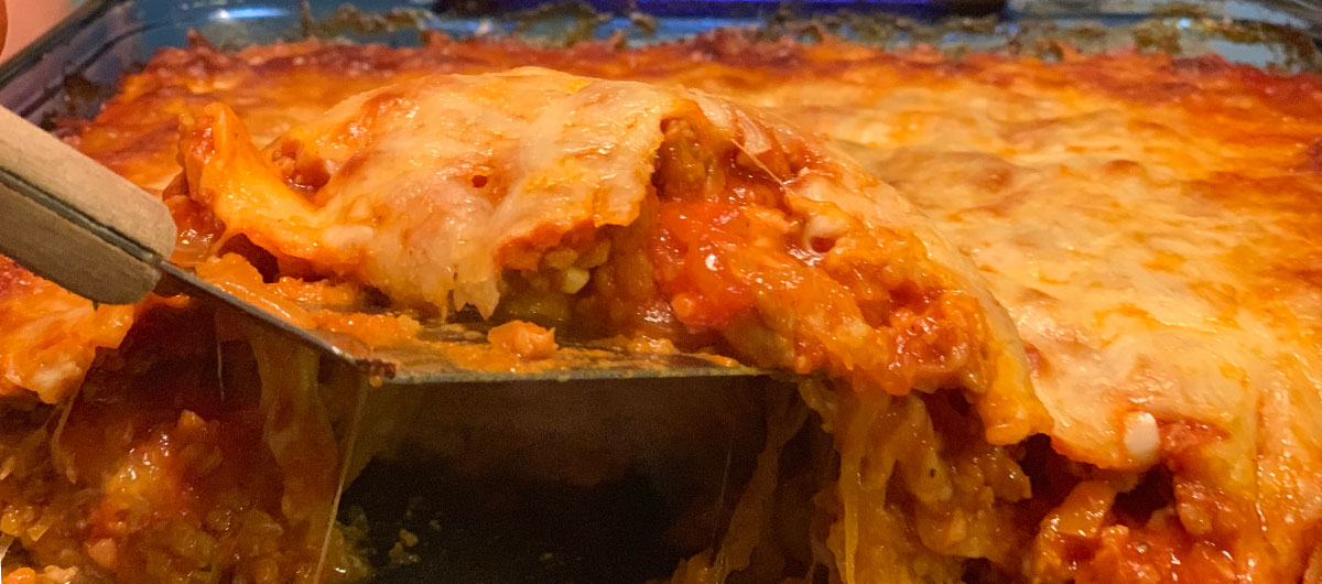 Keto Italian Sausage and Spaghetti Squash Casserole - side view in the pan