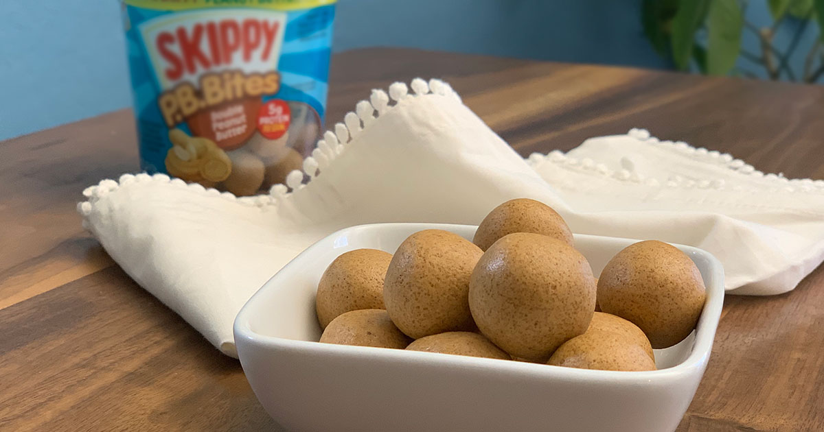 keto skippy p.b. bites recipe – the peanut butter balls in a bowl near a bag of P.B. bites