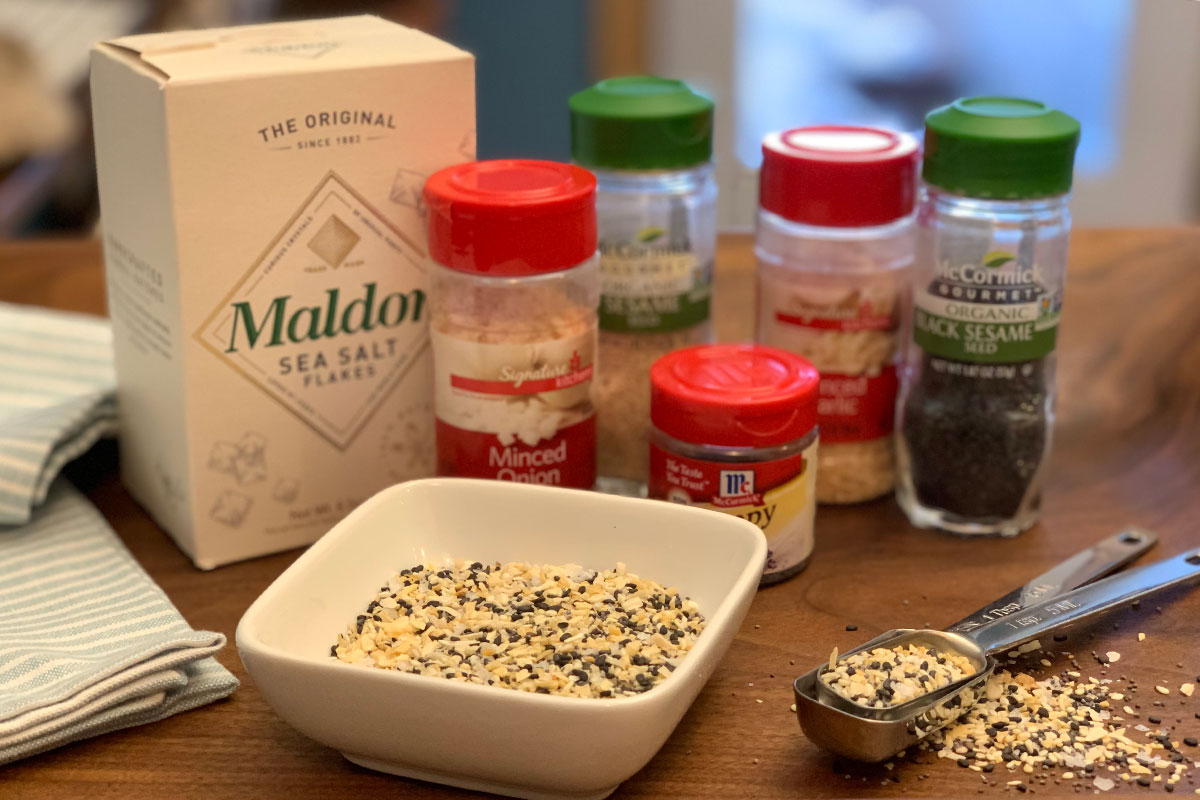 trader joes everything but the bagel seasoning copycat ingredients on a counter