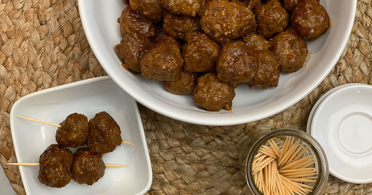 Low-Carb Sweet Savory Apricot Glazed Cocktail Meatballs skewered with toothpicks