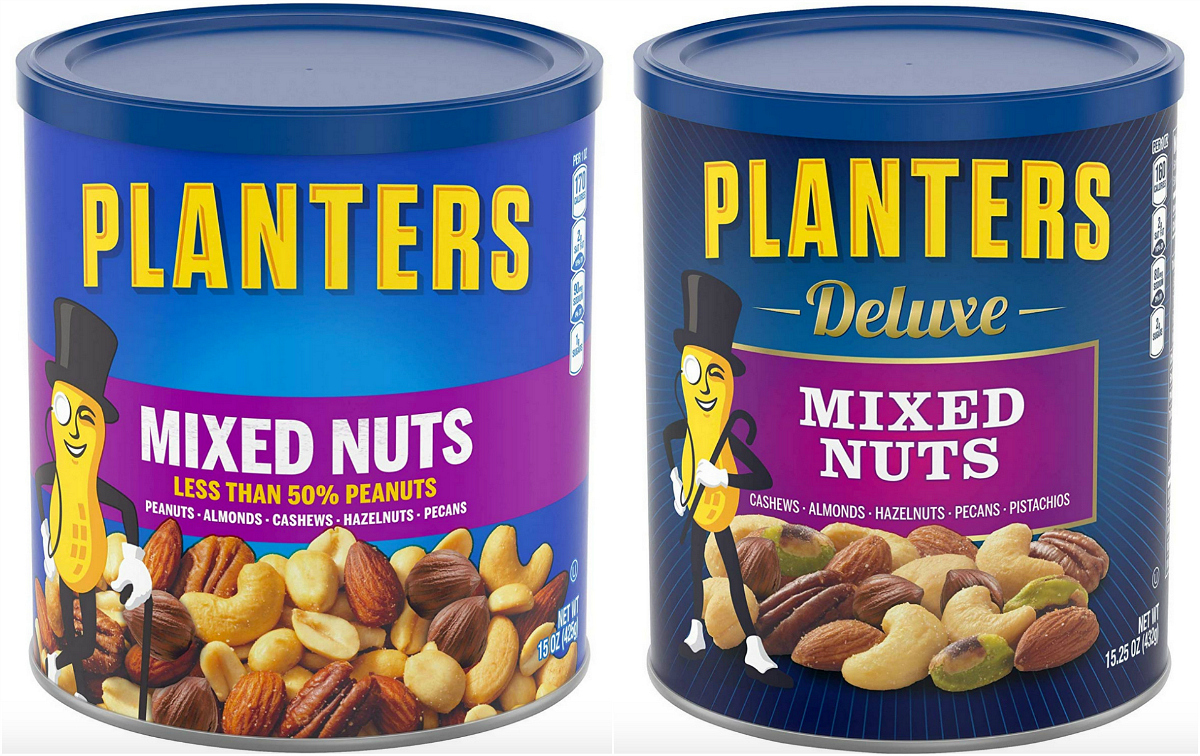 Two types of Planters mixed nuts available on Amazon