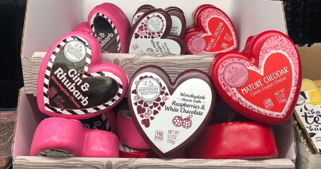 aldi heart shaped cheese on display for keto Valentine's Day gift