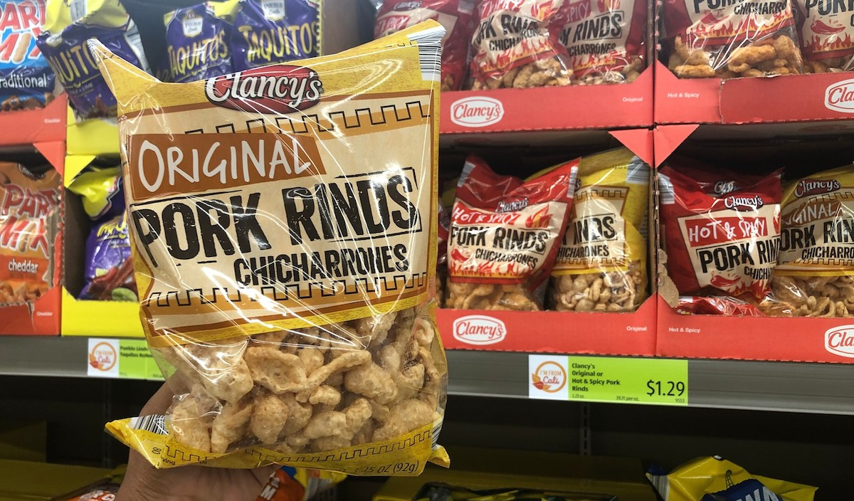 best budget-friendly keto snack foods at ALDI – bag of original pork rinds