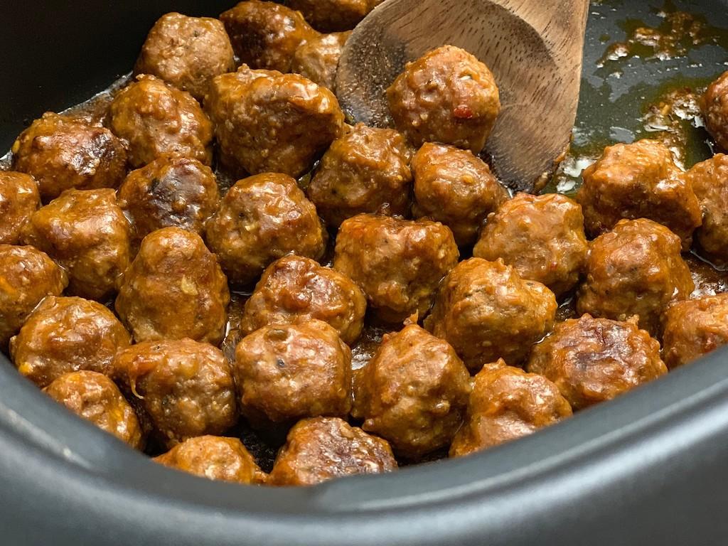 keto apricot glazed meatballs in the Crockpot