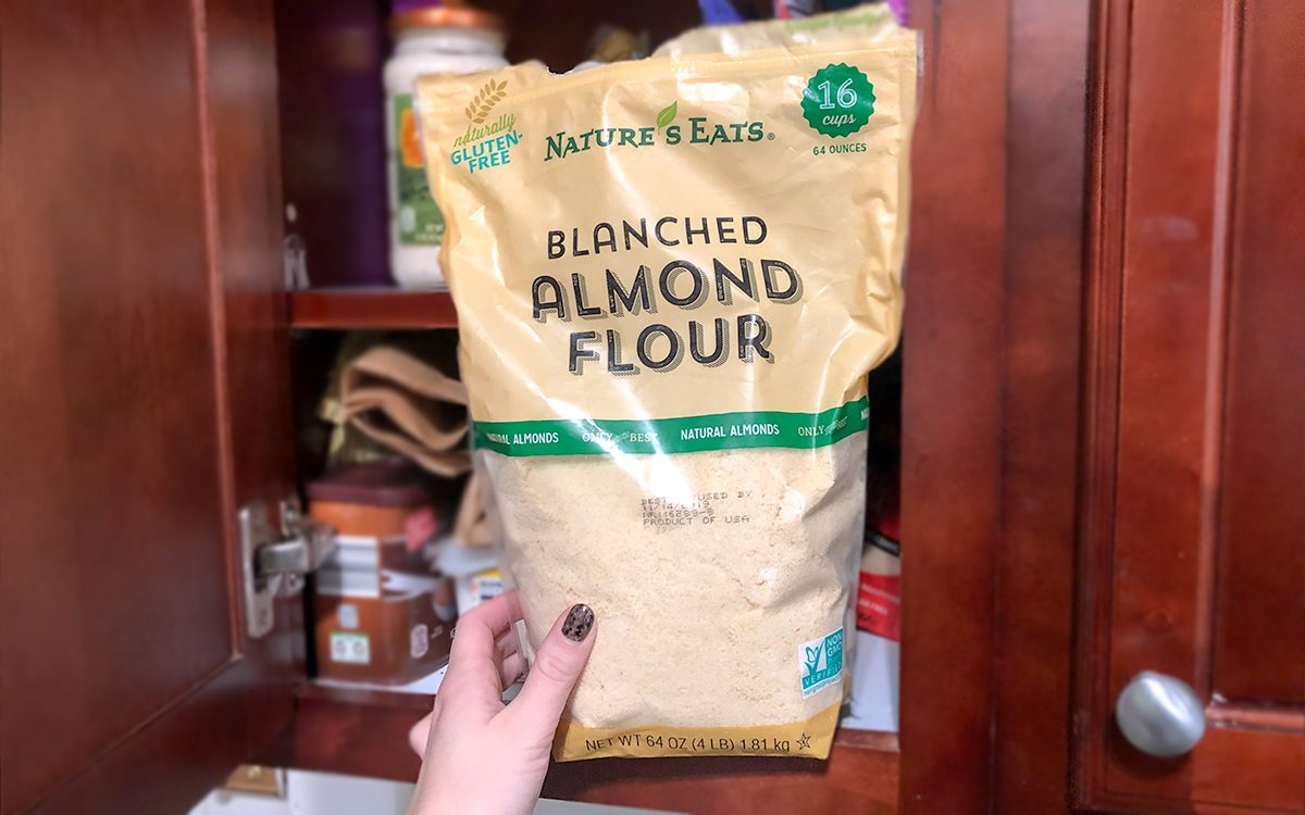 keto and low-carb foods include nature's eats blanched almond flour in cupboard