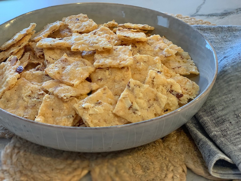 bowl of keto crackers on counter
