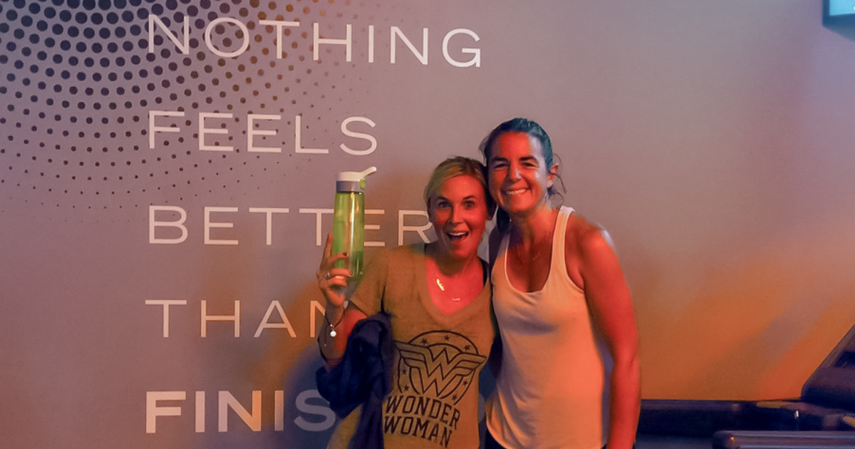 collin and bryn at orange theory fitness after workout