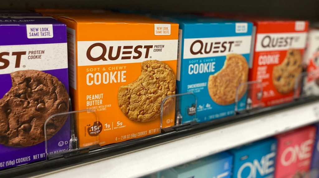 quest cookies on a shelf