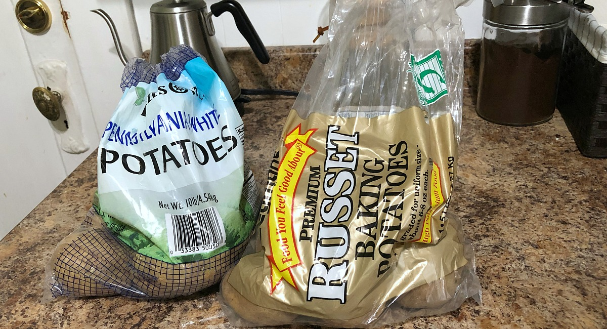 non-keto friendly bags of white and russet baking potatoes