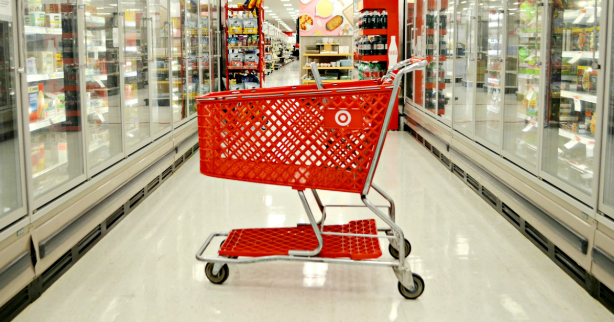 shopping cart in the Target frozen foods aisle