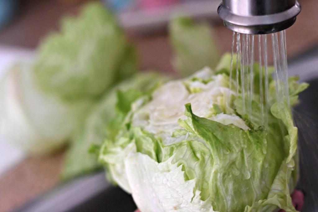 washing head of iceberg lettuce
