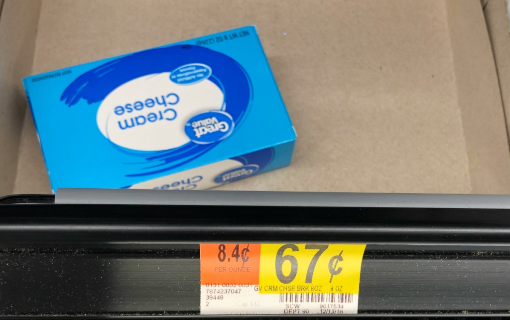 Great Value cream cheese at Walmart