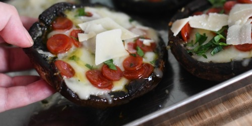Keto Portobello Mushroom Pizzas (Easy Sheet Pan Meal)