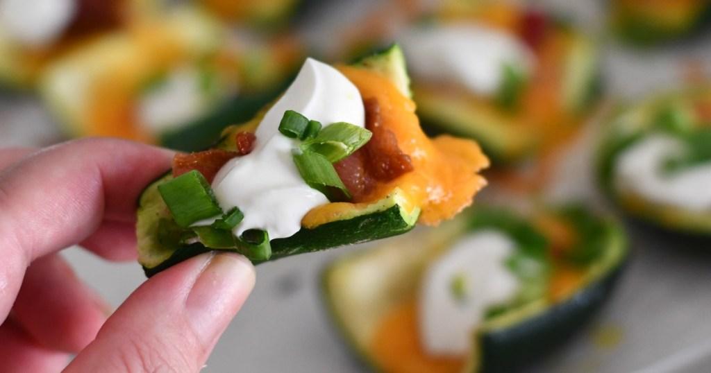 keto loaded zucchini skins recipe – closeup