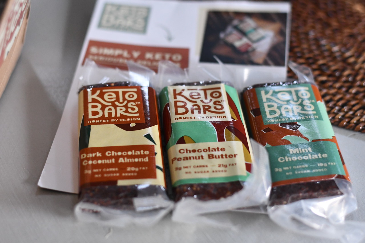 Keto Bars on a table in three flavors