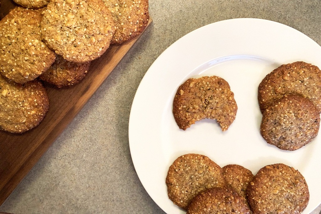 A plate full of low-carb oatmeal cookies with one cookie missing a large bite