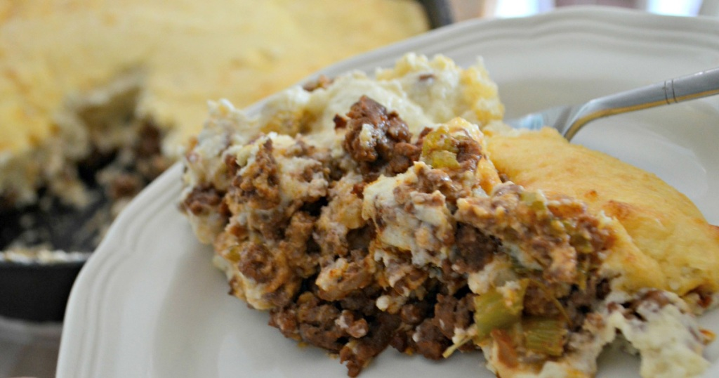 Best keto Comfort Food Shepherds Pie Recipe - a large helping of shepherds pie on a plate