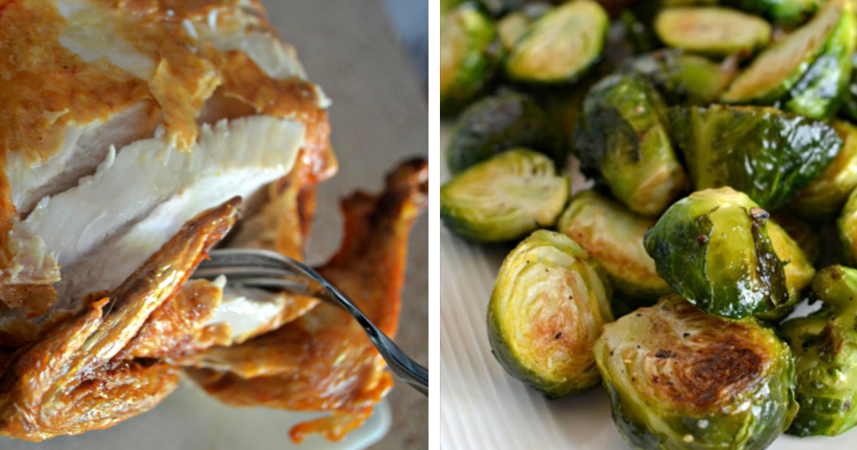 Crispy air fryer chicken served with roasted brussels sprouts