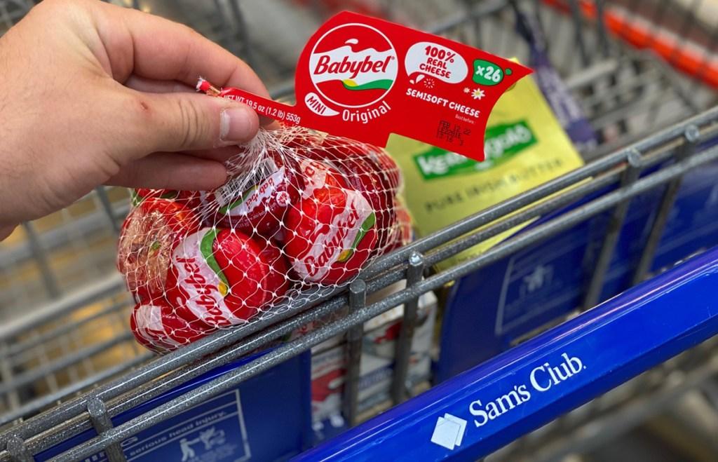 babybel cheese in shopping cart at sams