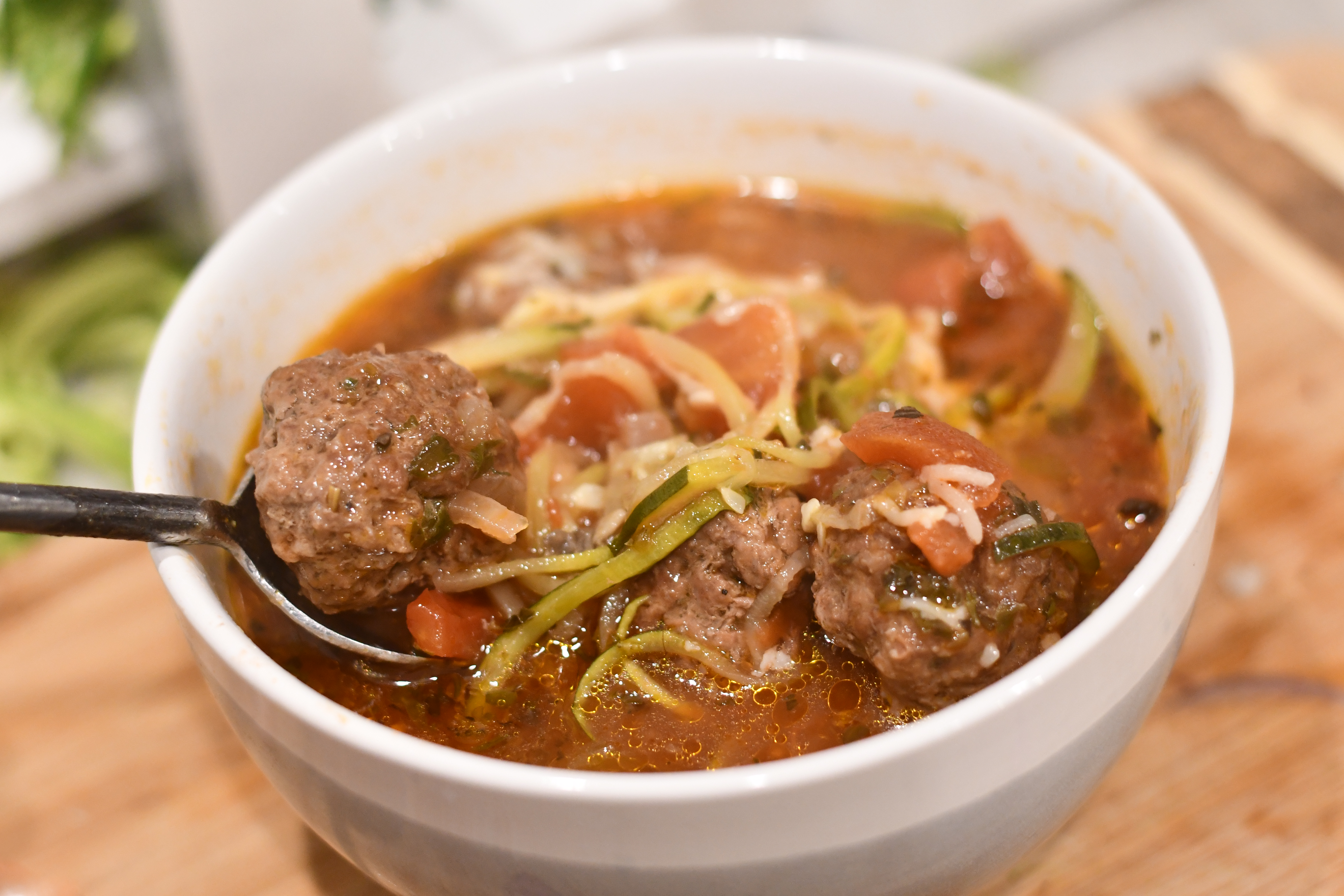 keto meatball soup in a bowl