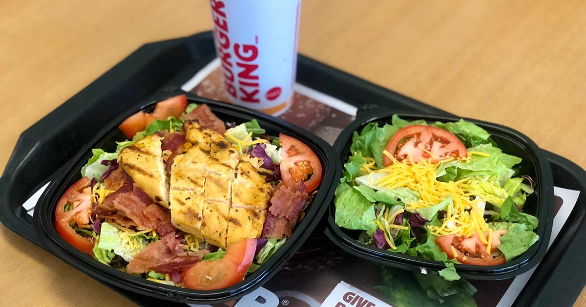 tray of burger king keto burger and side salad