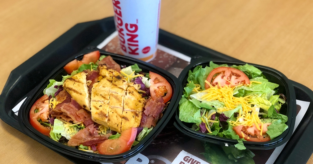 tray of burger king keto burger and side salad