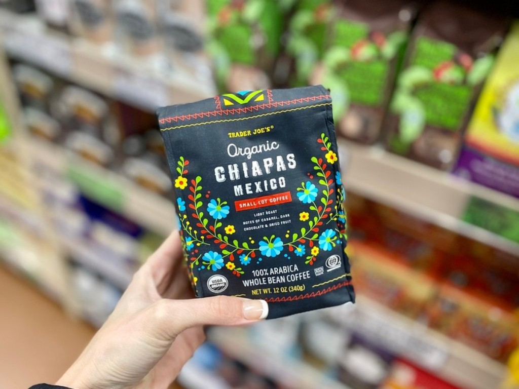 holding bagged Chiapas coffee at Trader Joe's