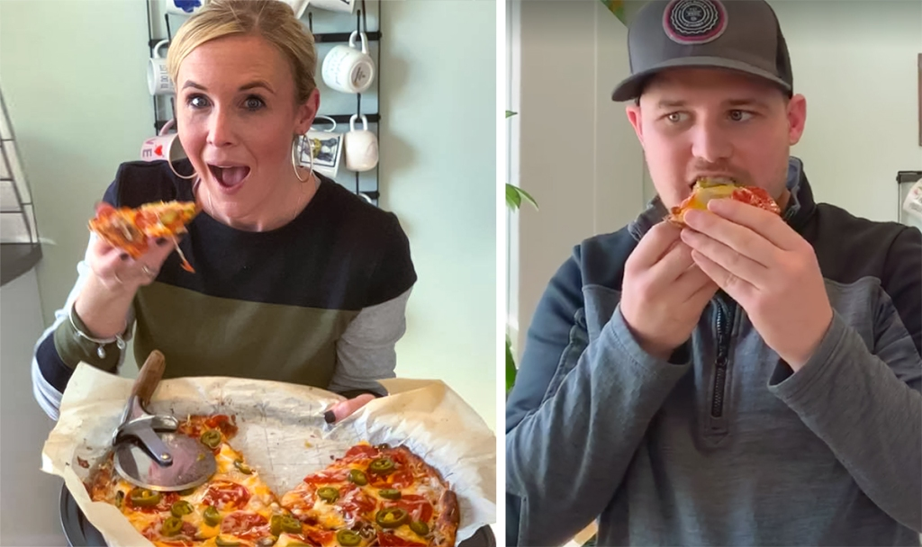 collin and stetson eating fathead keto pizza