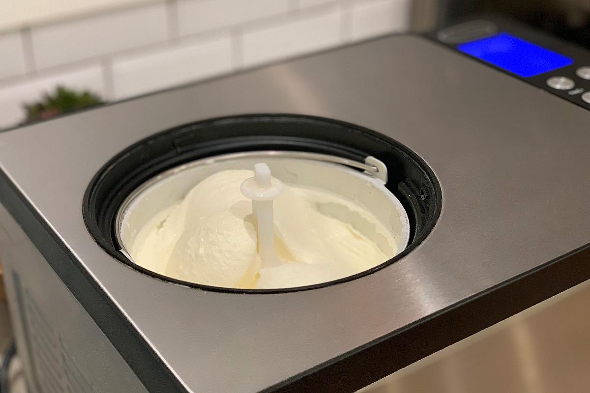 keto vanilla bean ice cream in the ice cream maker