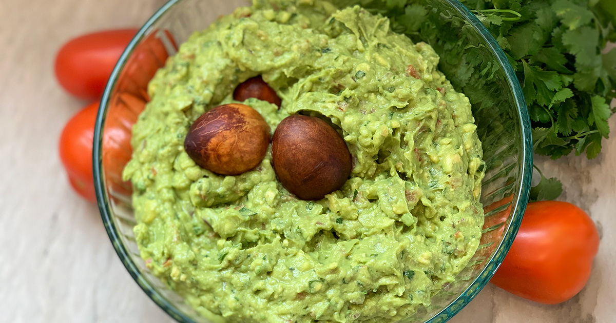 guacamole with two pits on top