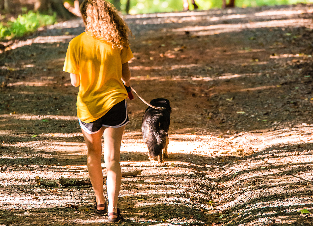 girl walking dog on hiking trail