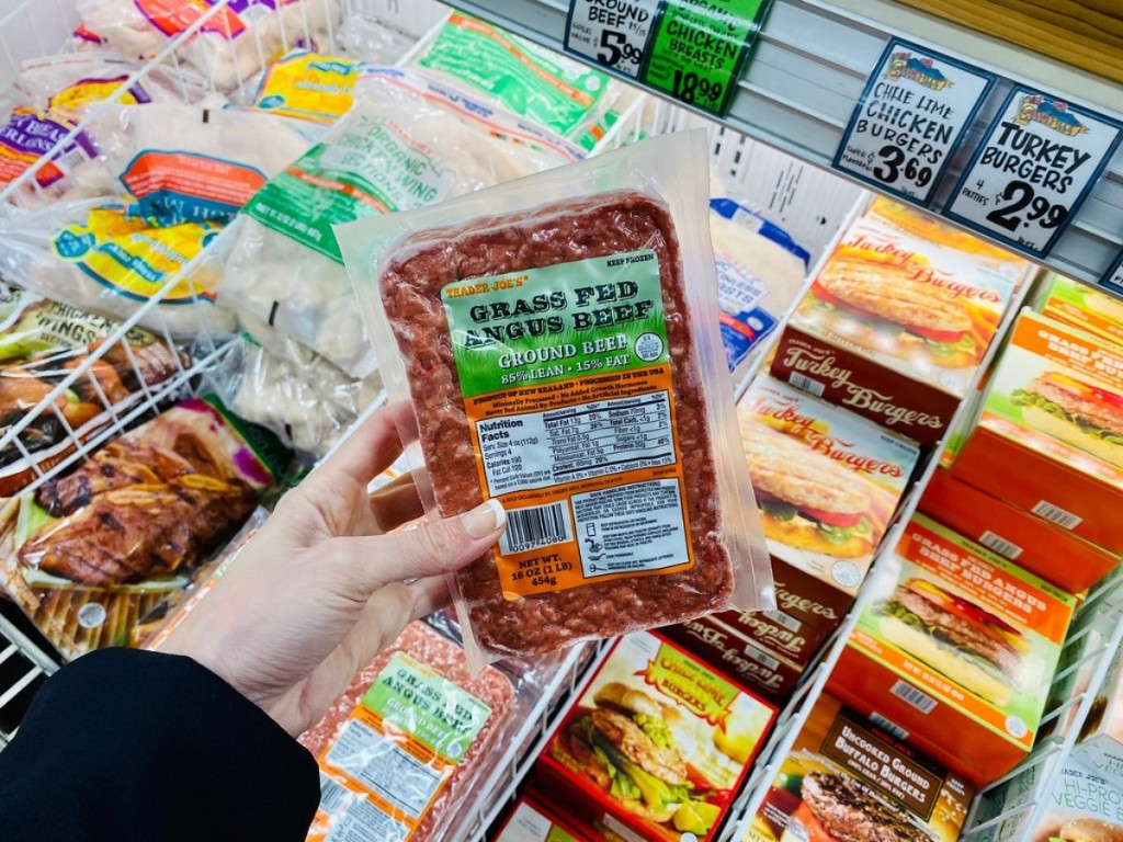 holding ground beef at Trader Joe's
