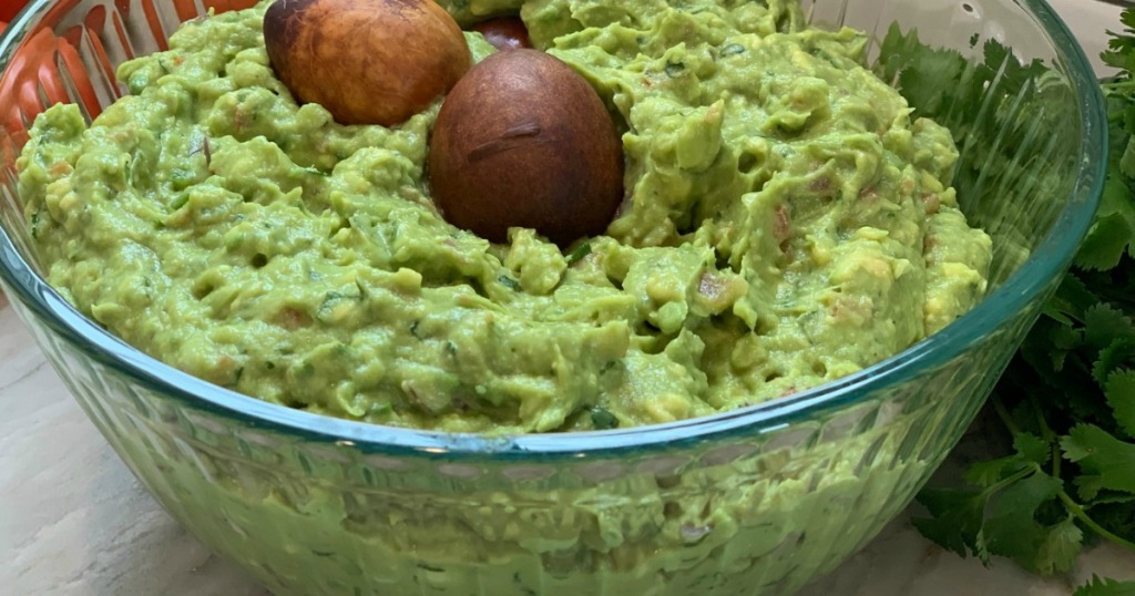 large bowl filled with fresh guacamole