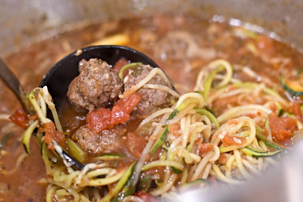 keto meatball soup on the stove